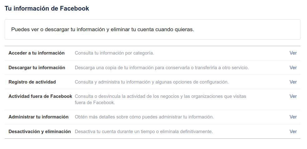 Facebook y nuestra información 9